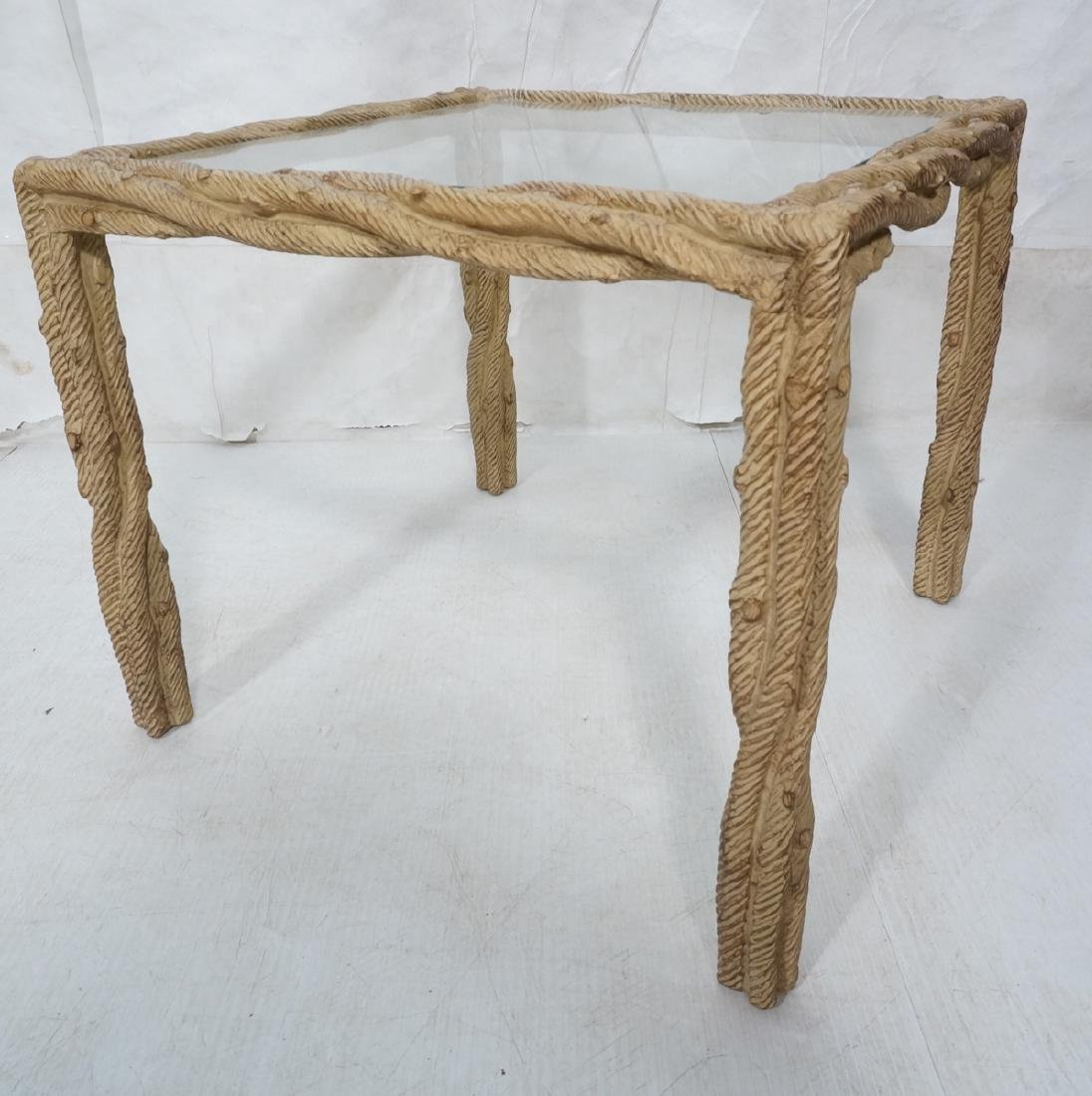 Decorator Faux Bois Square Occasional Table. Text