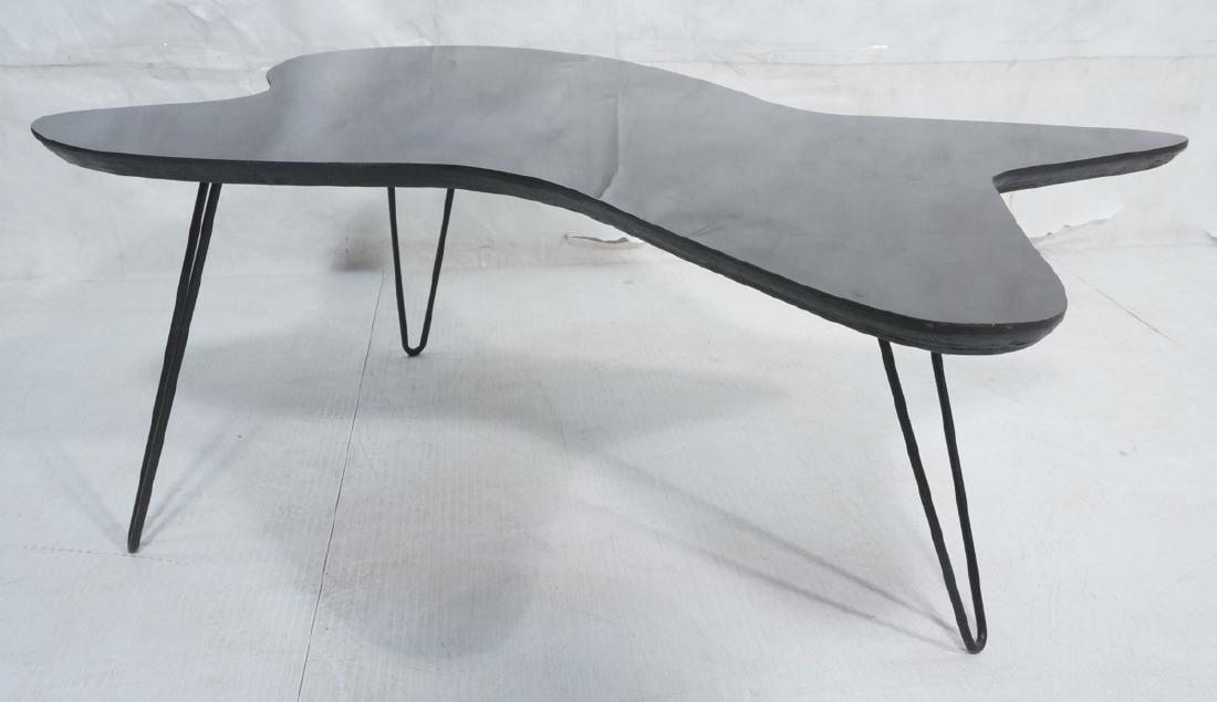 Black Laminate Biomorphic Coffee Table. 3 Hairpin