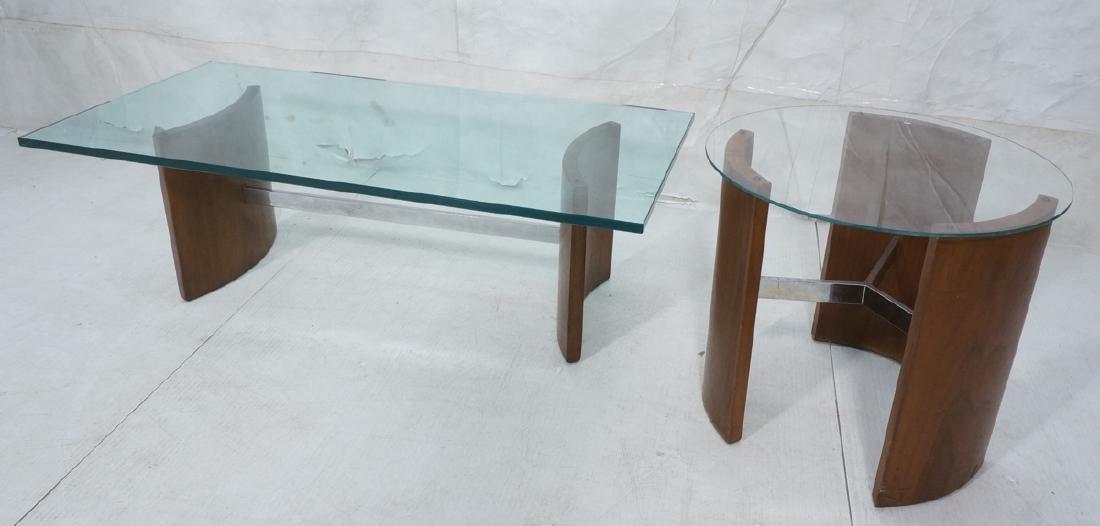 2pc KAGAN Attributed American Modern Walnut Table