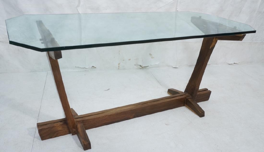 Studio Woodworker Artisan Glass Top Dining Table.