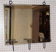 Modernist Hanging Wall Mirror Black iron hanging