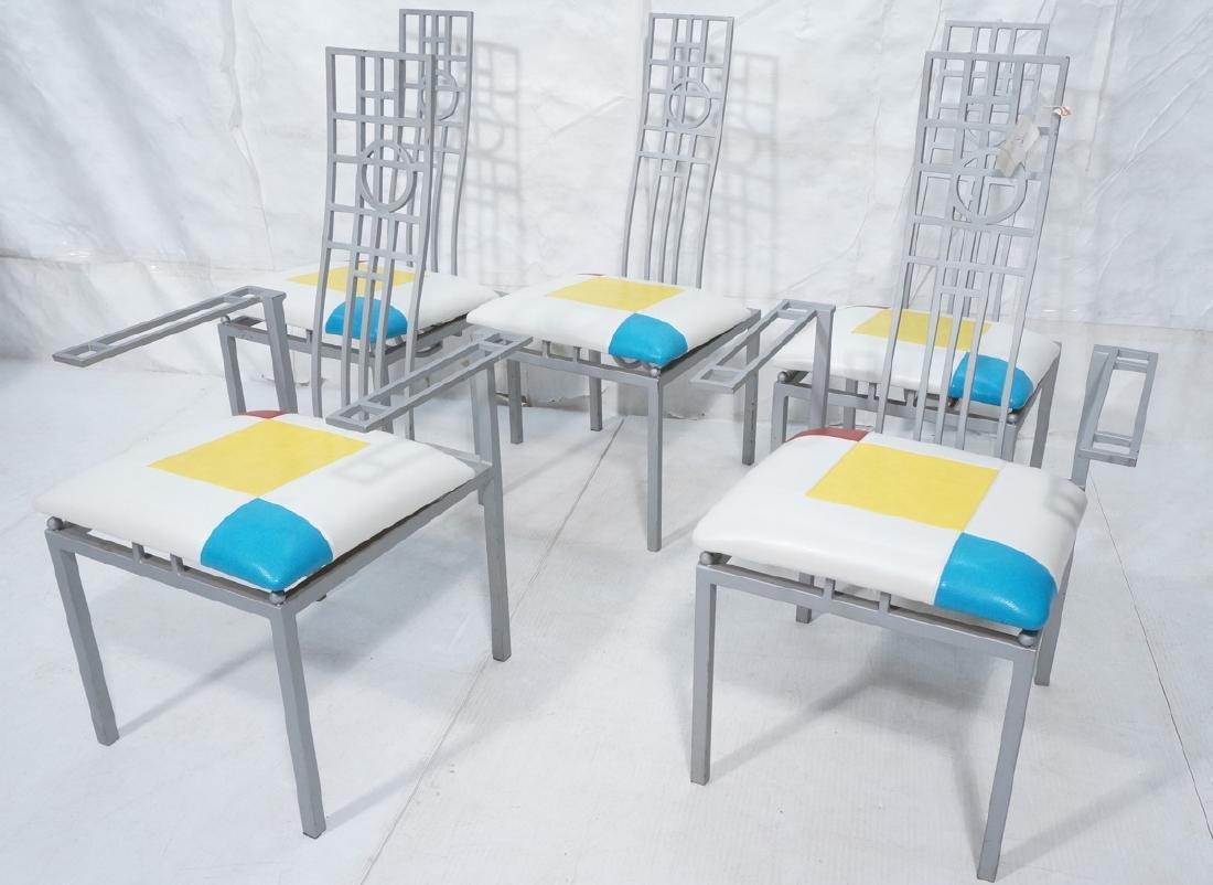 Set 5 Frank Lloyd Wright Modern Dining Chairs. FL