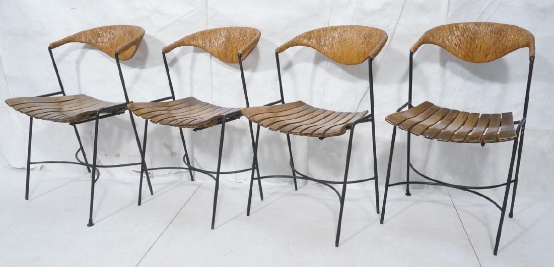 Set 4 ARTHUR UMANOFF Modern Slat Seat Side Chairs