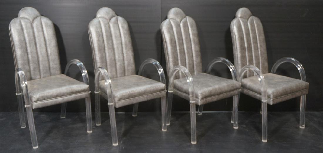 Set 4 Lucite Tube Arched Arm Side Chairs. PACE St