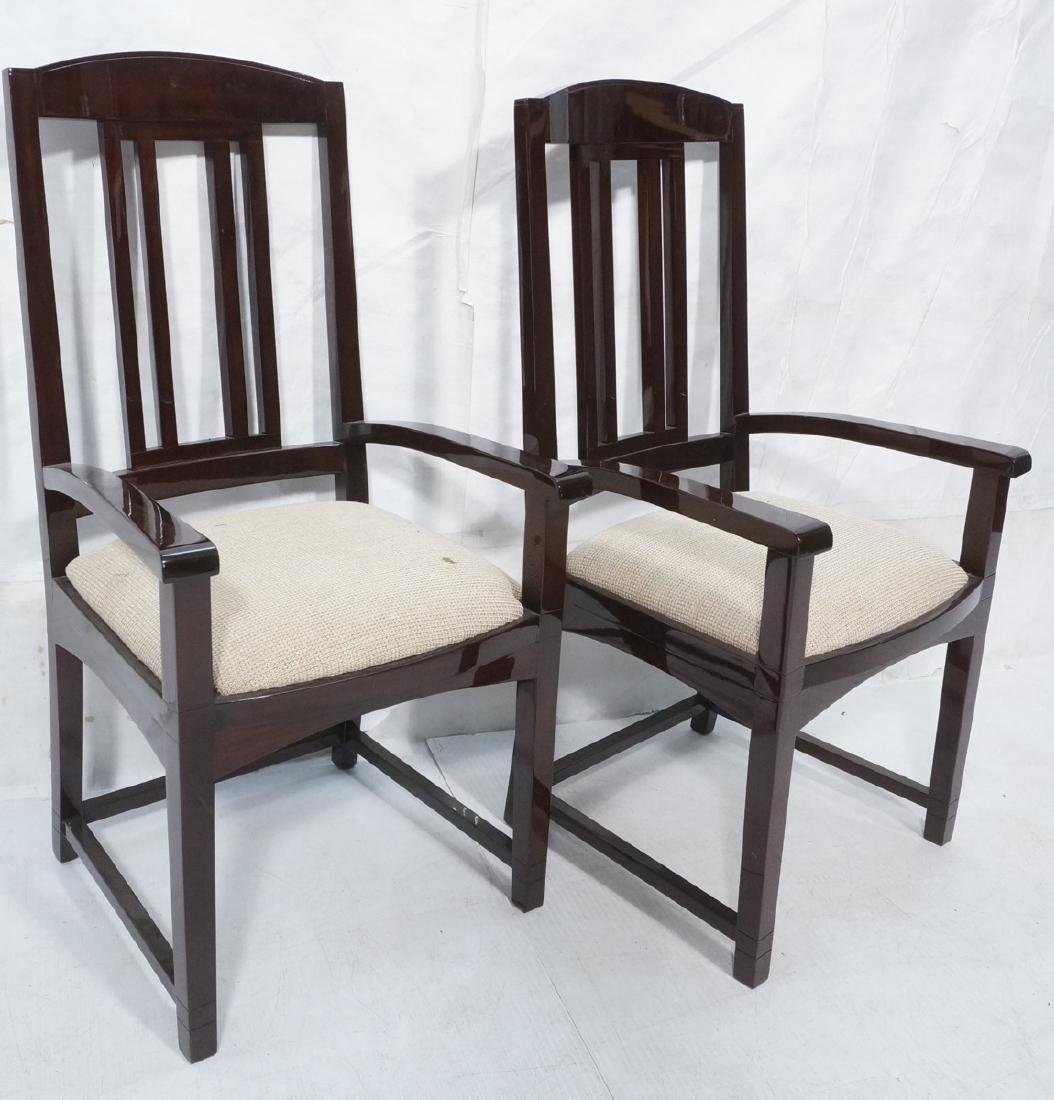 Pr High Polish Varnish Tall Back Arm Chairs. Slat