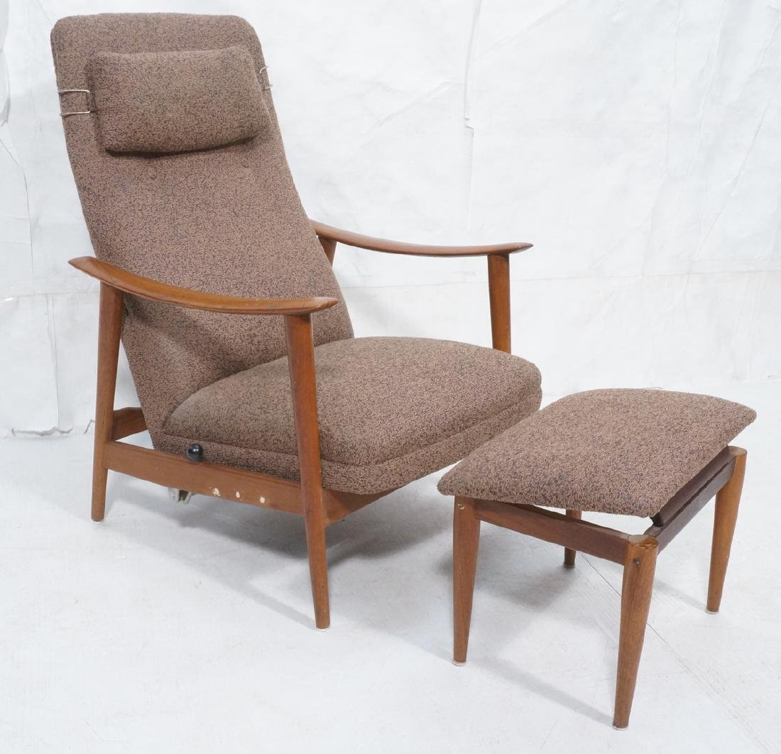 Tall Back Danish Teak Lounge Chair & Ottoman. Spr