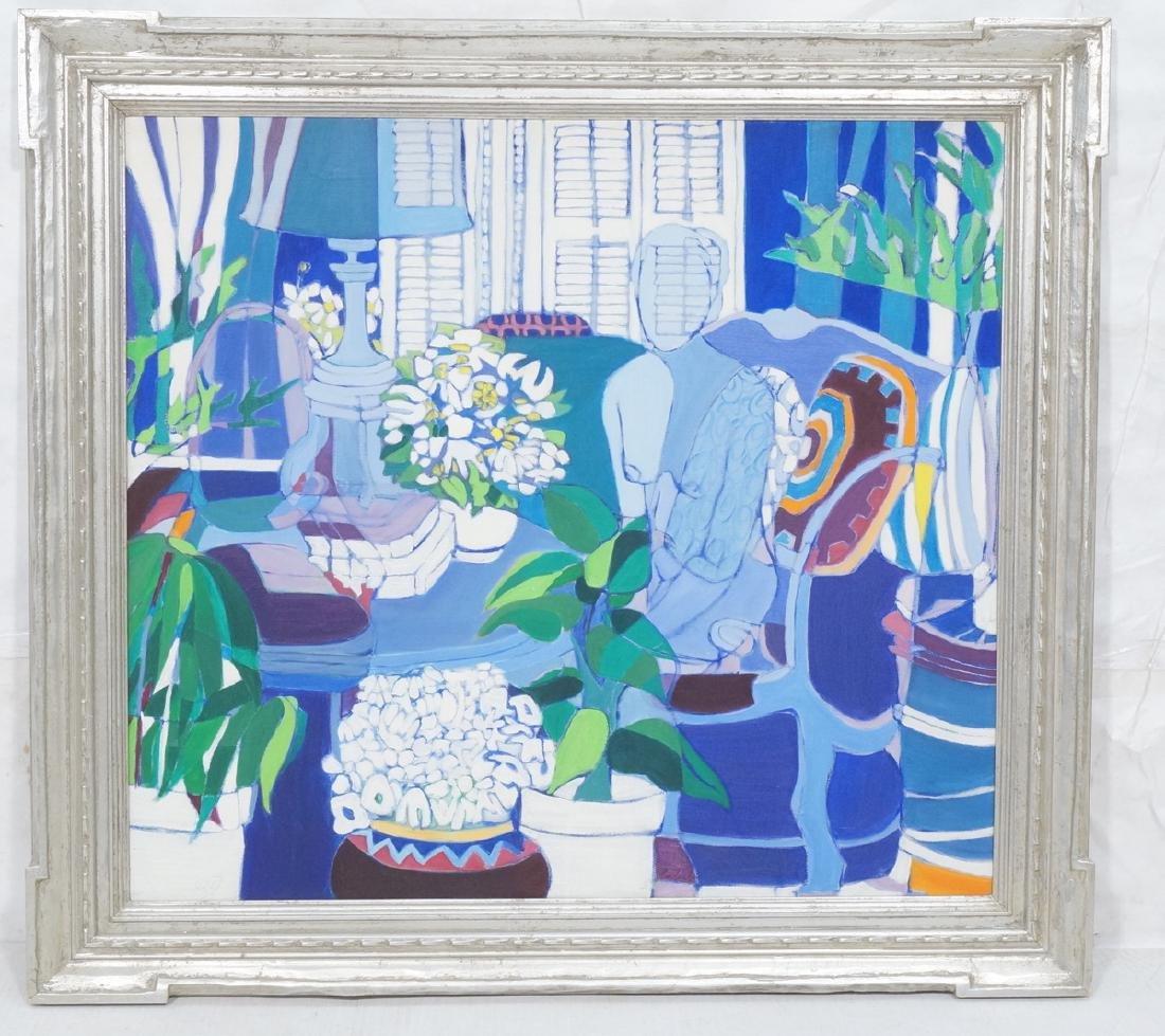SANDI BADASH Lg Figural Cubist Oil Painting. Blue