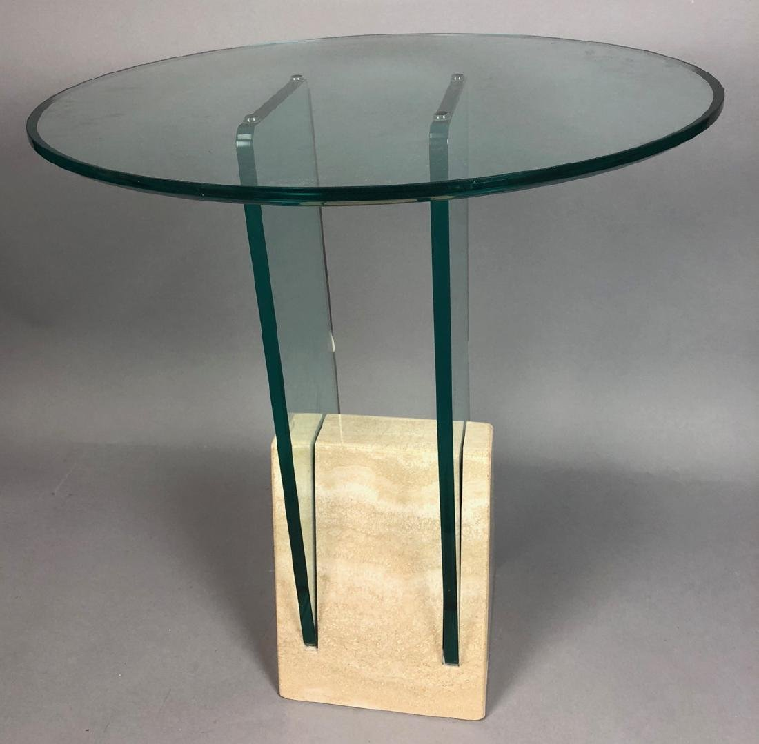 KEISER NEWMAN Style Glass & Marble Side Table. Th