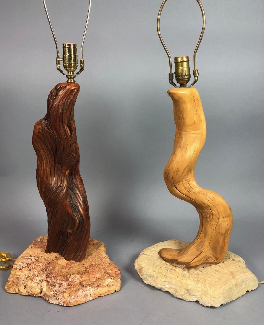 2pc Driftwood Organic Table Lamps. Stained driftw