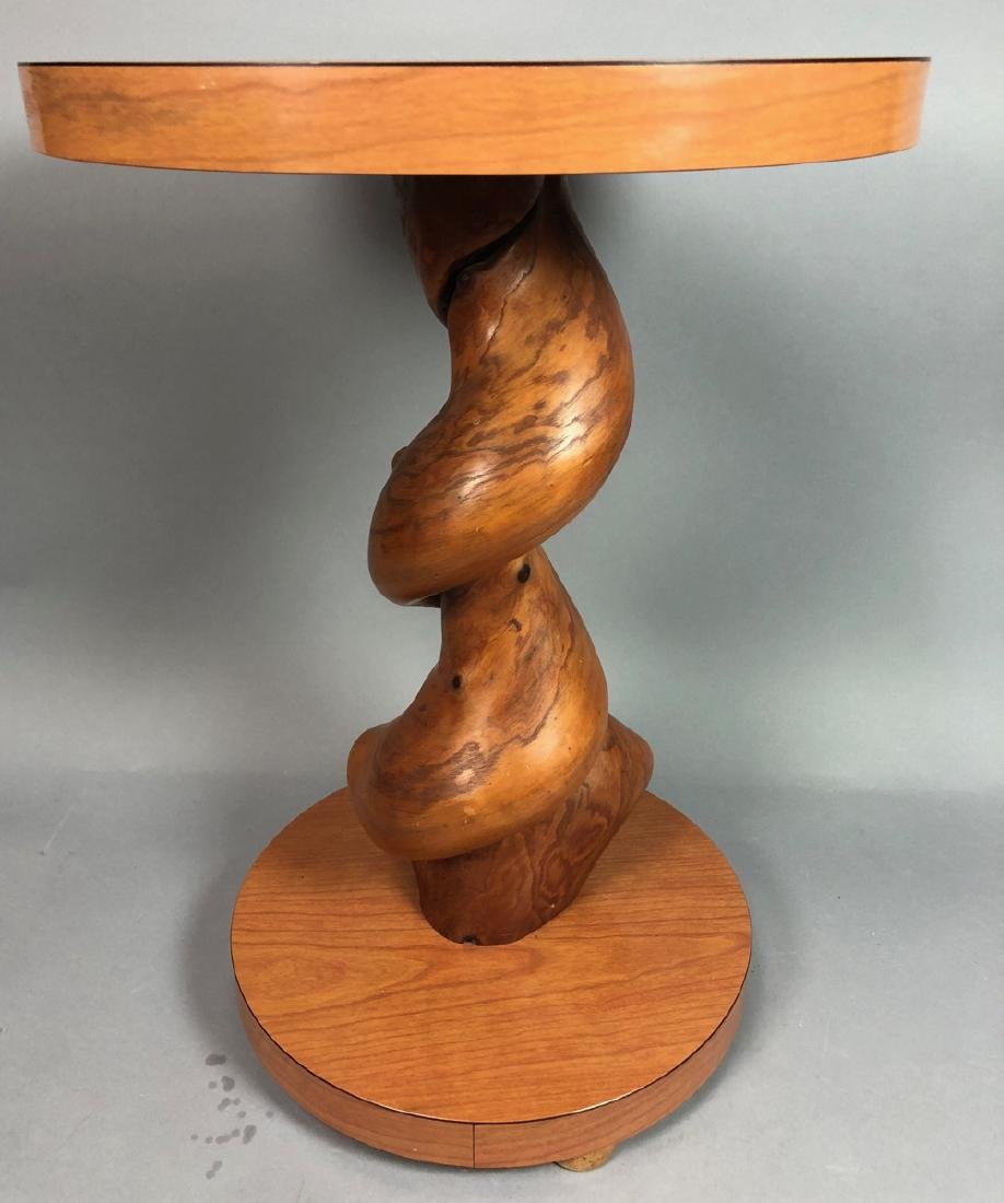 Modernist Round Side End Table. Twisted natural w