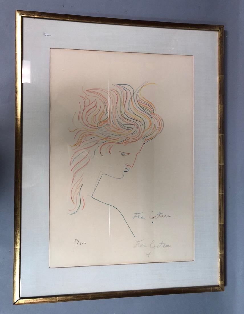 "JEAN COCTEAU Original Lithograph Profile Print. """
