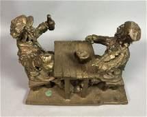 MANYO Bronze Figural Sculpture  Two European Men