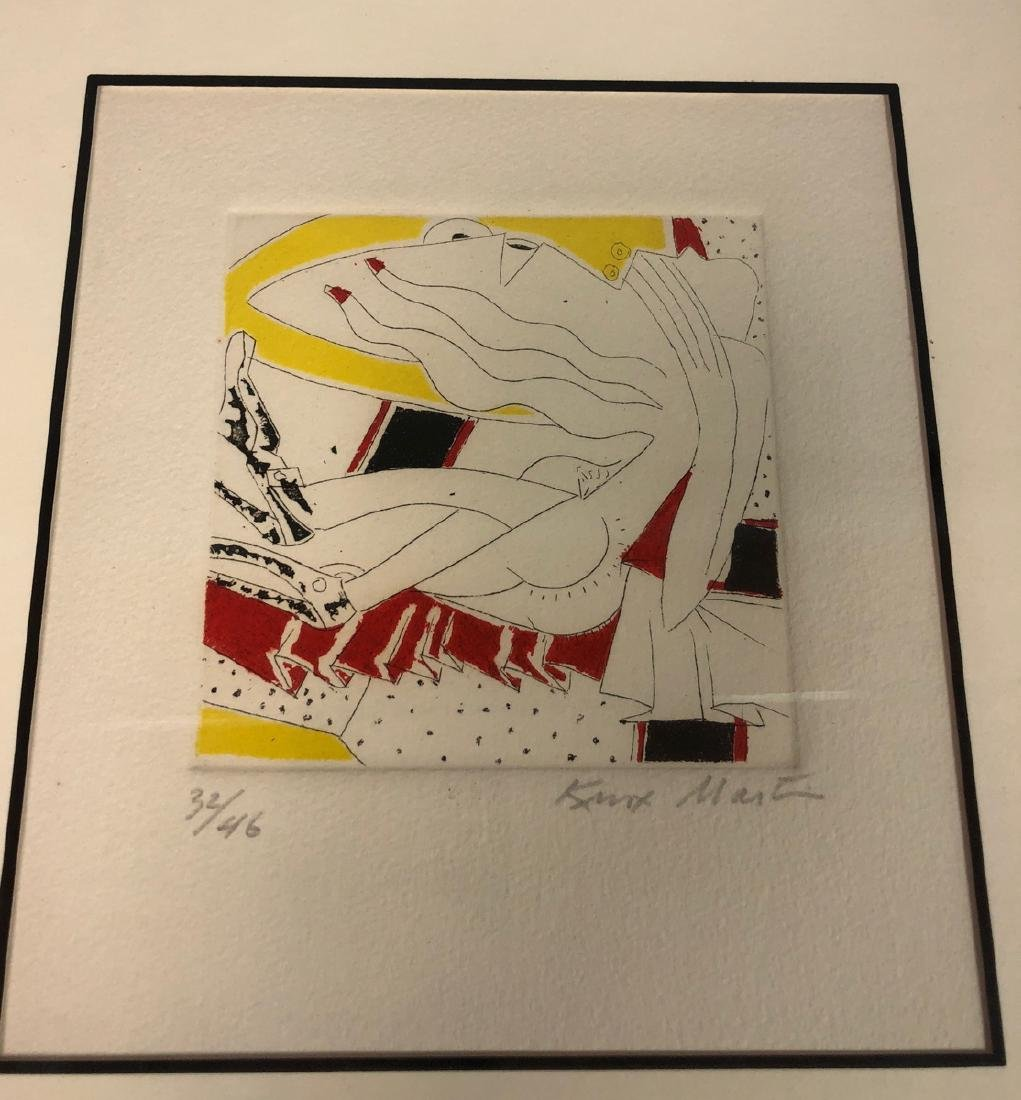KNOX MARTIN Signed Graphic Print. Linear design w