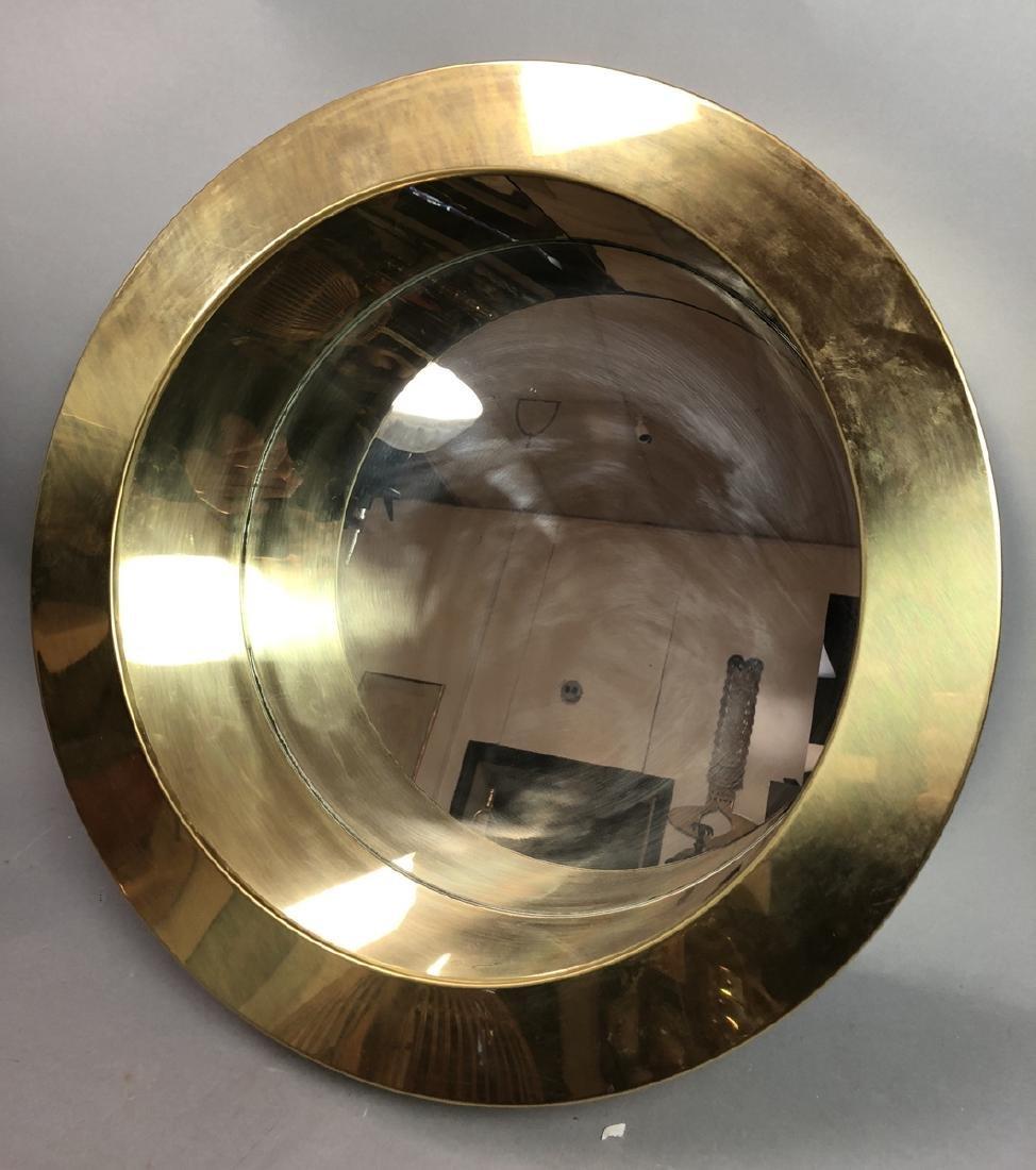 C JERE  Round Porthole Mirror. Deep Wide Brass