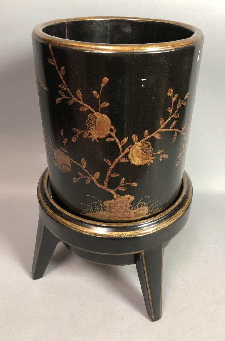 Decorator Black Lacquered Asian style Wastebasket