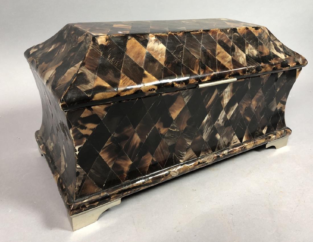 MAITLAND SMITH Style Inlaid Horn Tile Mosaic Box.