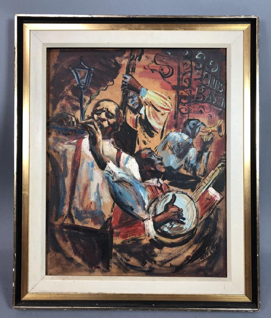 """TOM LANE Oil Painting. New Orleans Jazz Band. """"Cl"""