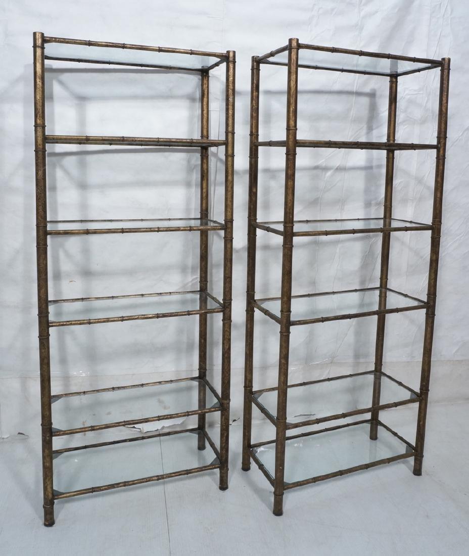 Pr Decorator Gilt Metal Faux Bamboo Etagere Shelv