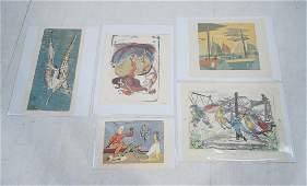 5pc Graphic Modern Art Prints. J.E. ALEXANDER Gra