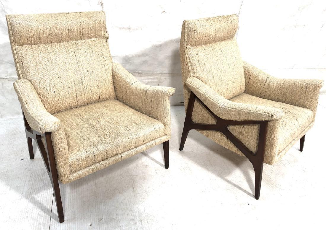 """Pr Modernist Lounge Chairs. External """"X"""" Wood Fra"""