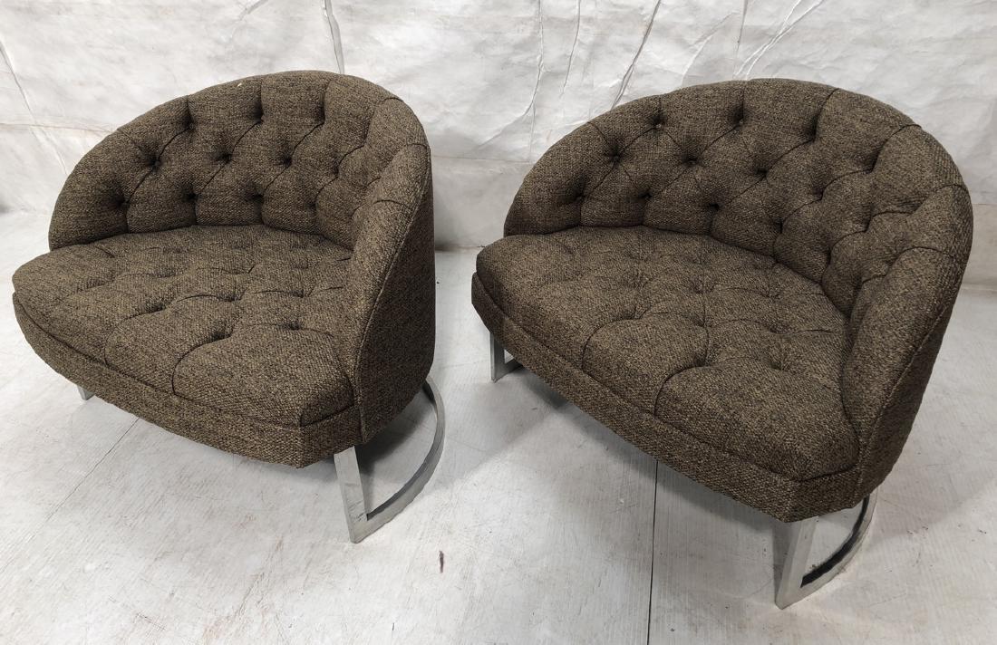 Pr Barrel Back Tufted Lounge Chair. Semi round al