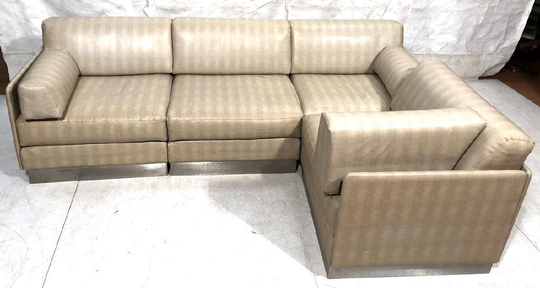 Faux Snakeskin L Shaped Sectional Sofa Couch. Bru
