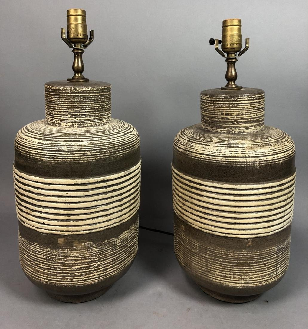 Pr Brown Pottery Modern Table Lamps. Brown ground