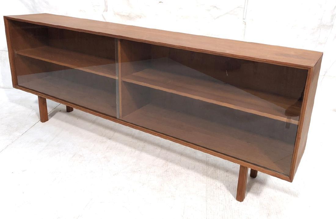 Danish Modern Teak Low Bookcase Cabinet. Shallow