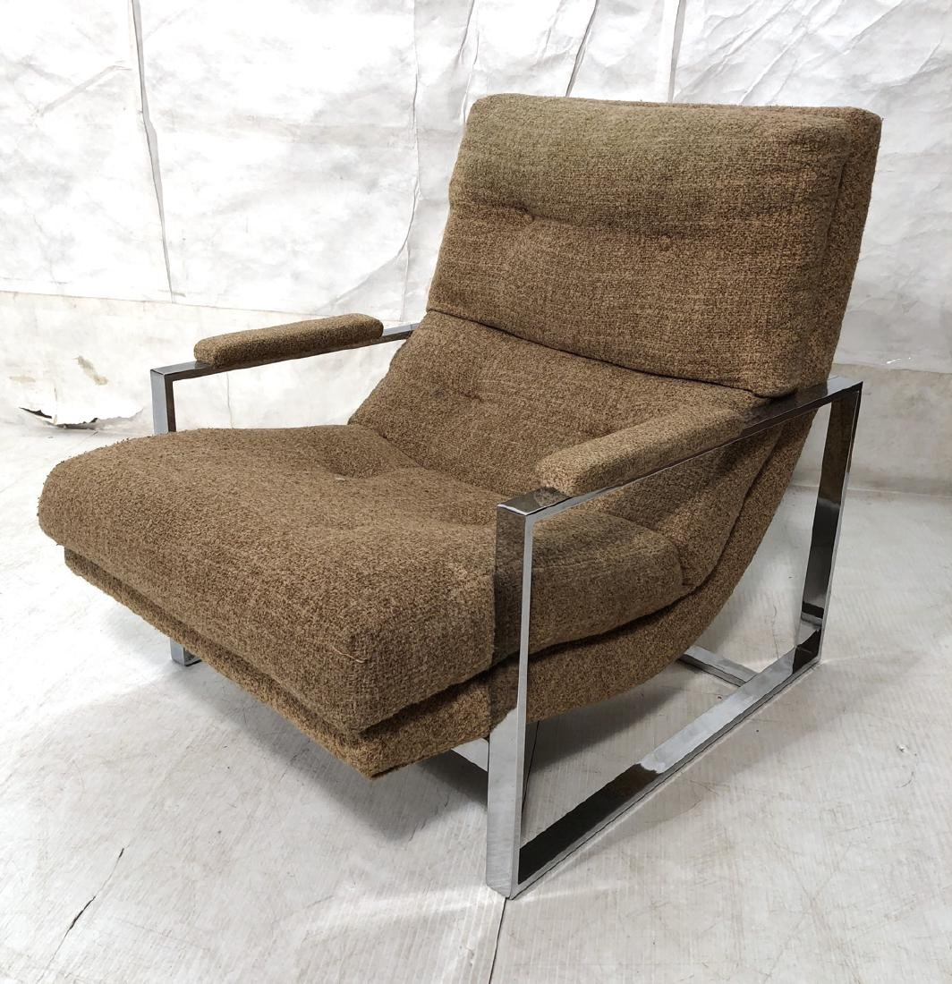 Milo Baughman style Chrome Frame Lounge Chair. Op