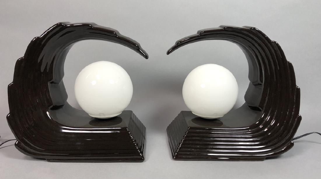 Pr Art Deco style Black Glazed Wave Form Table La