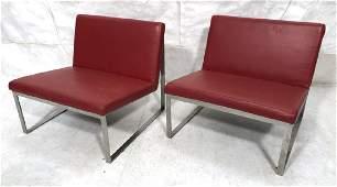 Pr Red Vinyl BERNHARDT Modern Lounge Chairs Flat