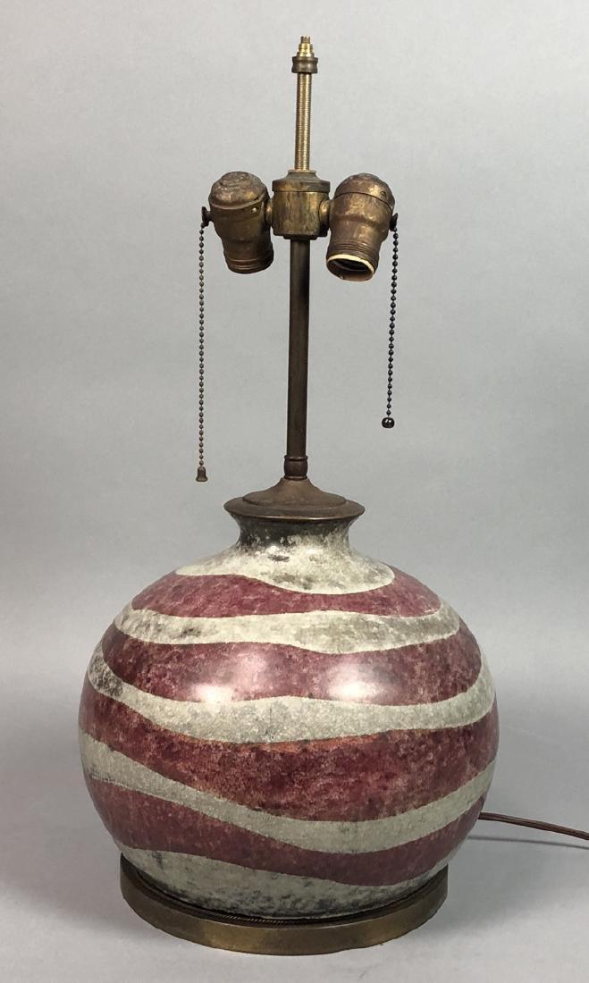 Bulbous Pottery Table Lamp. DELVAUX, Paris Mark.