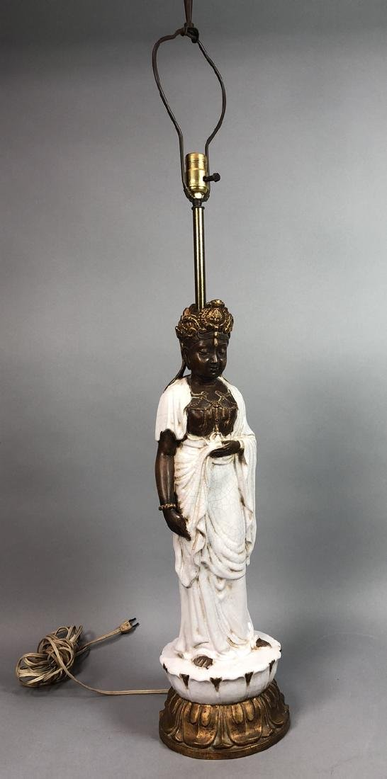 JAMES MONT style Pottery Figural Table Lamp. Stan