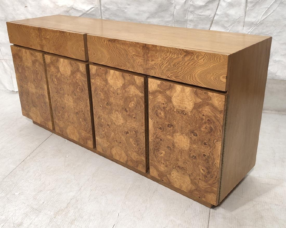LANE Burl Wood Front Credenza Cabinet. Two drawer