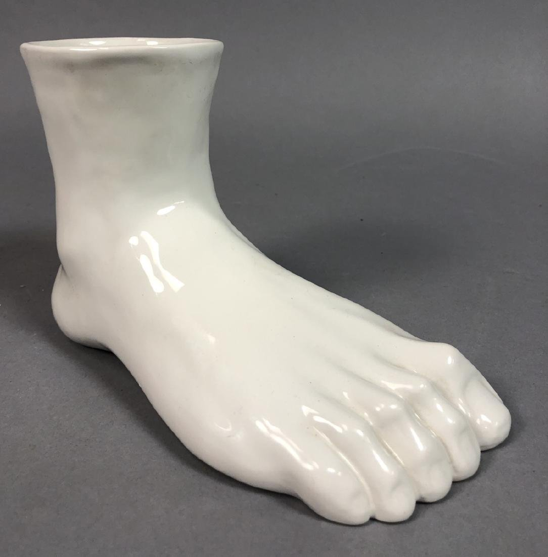 Italian White Glazed Porcelain Foot Sculpture. Ho