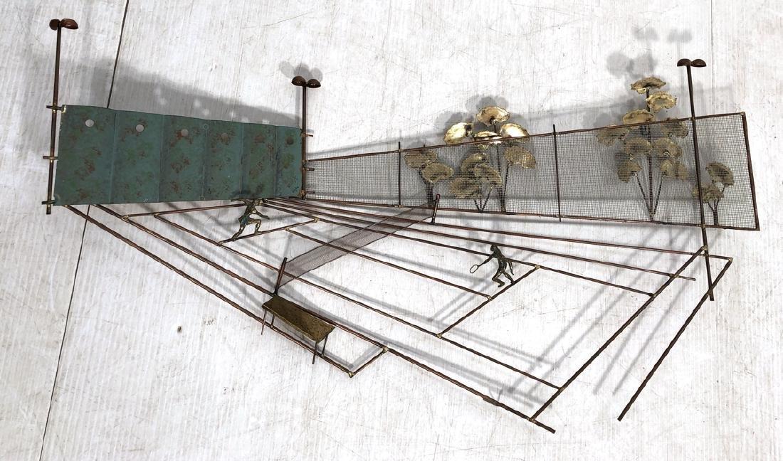 C JERE Mixed Metal Tennis Court Wall Sculpture. 3
