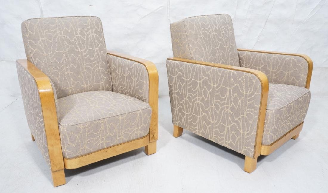 Pair Art Deco Club Lounge Chairs.  Molded Wood Fr