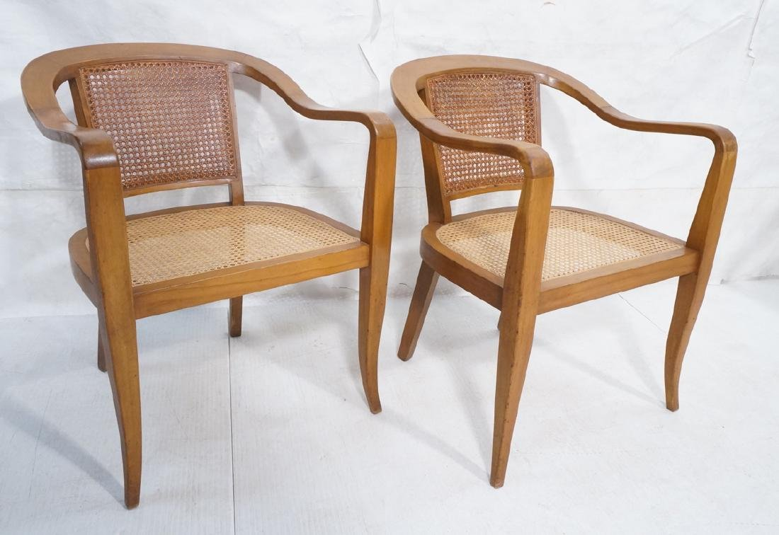 Pair Modernist Molded Wood Lounge Chairs with Can