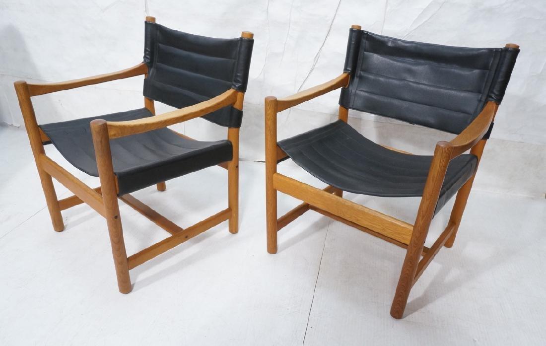 Pair of Danish Modern Teak Safari Style Chairs.