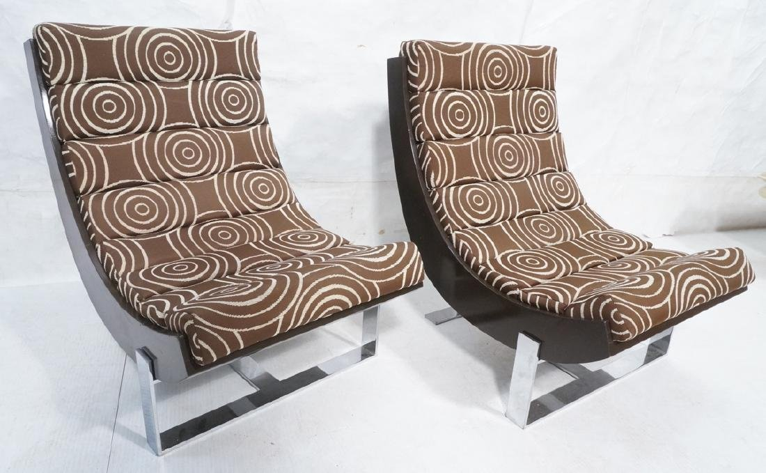 Pair Italian Style Scoop Lounge Chairs.  Wood Fra