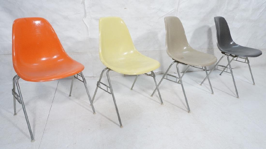 Set of 4 Herman Miller Shell Chairs. All Differen