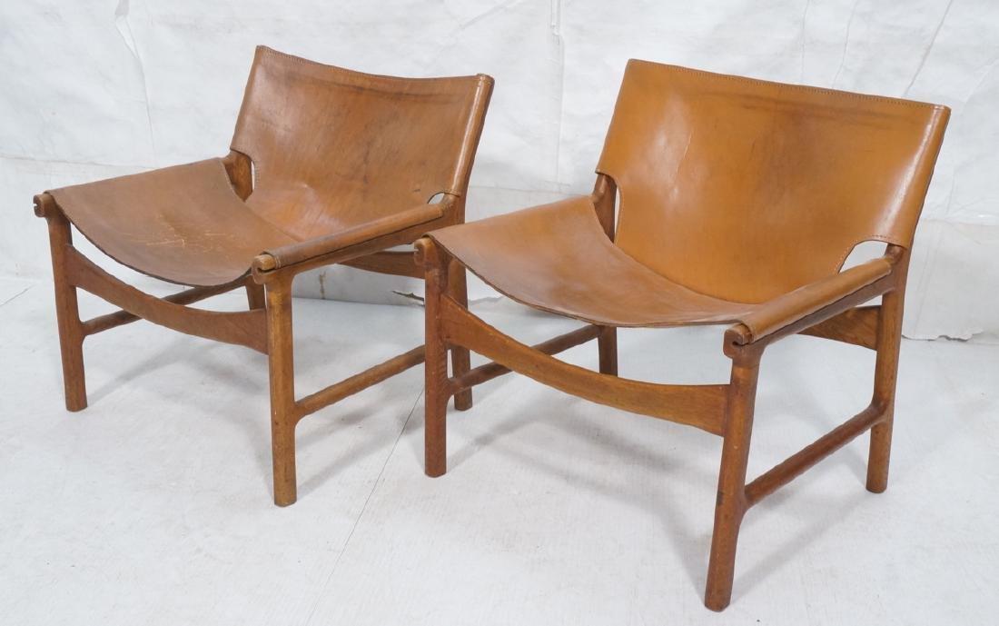 Pr BORGE MOGENSEN style Teak Frame Lounge Chairs.