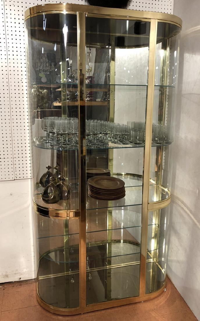 DIA Bowed Glass & Brass Curio Display Cabinet.