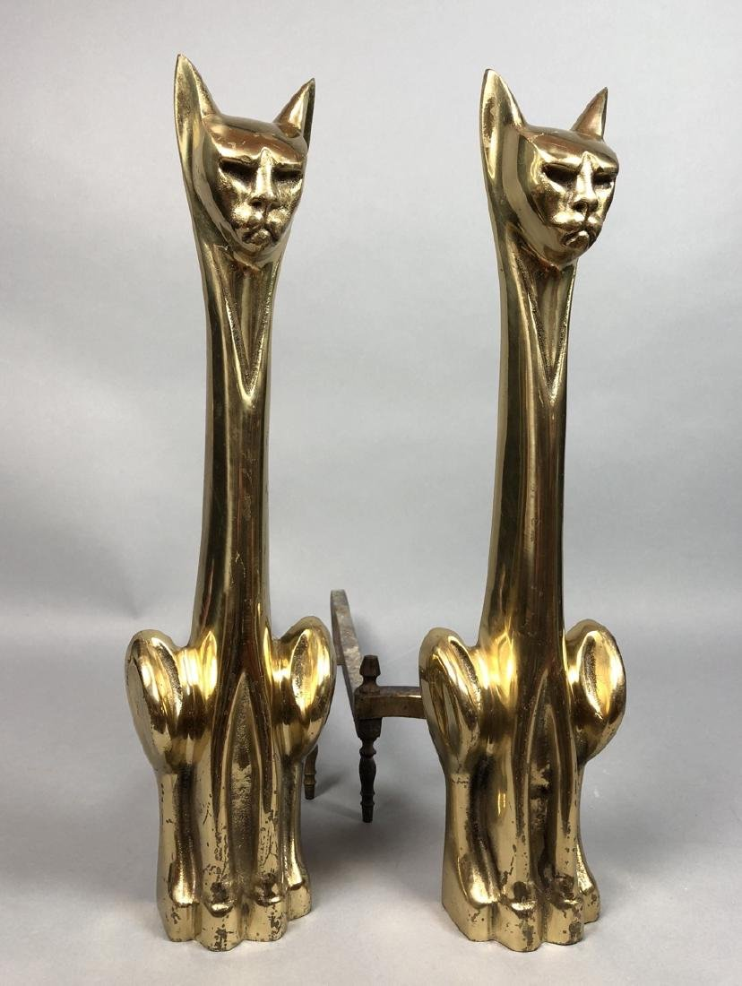 Modernist Brass Cat Figural Andirons. Seated elon