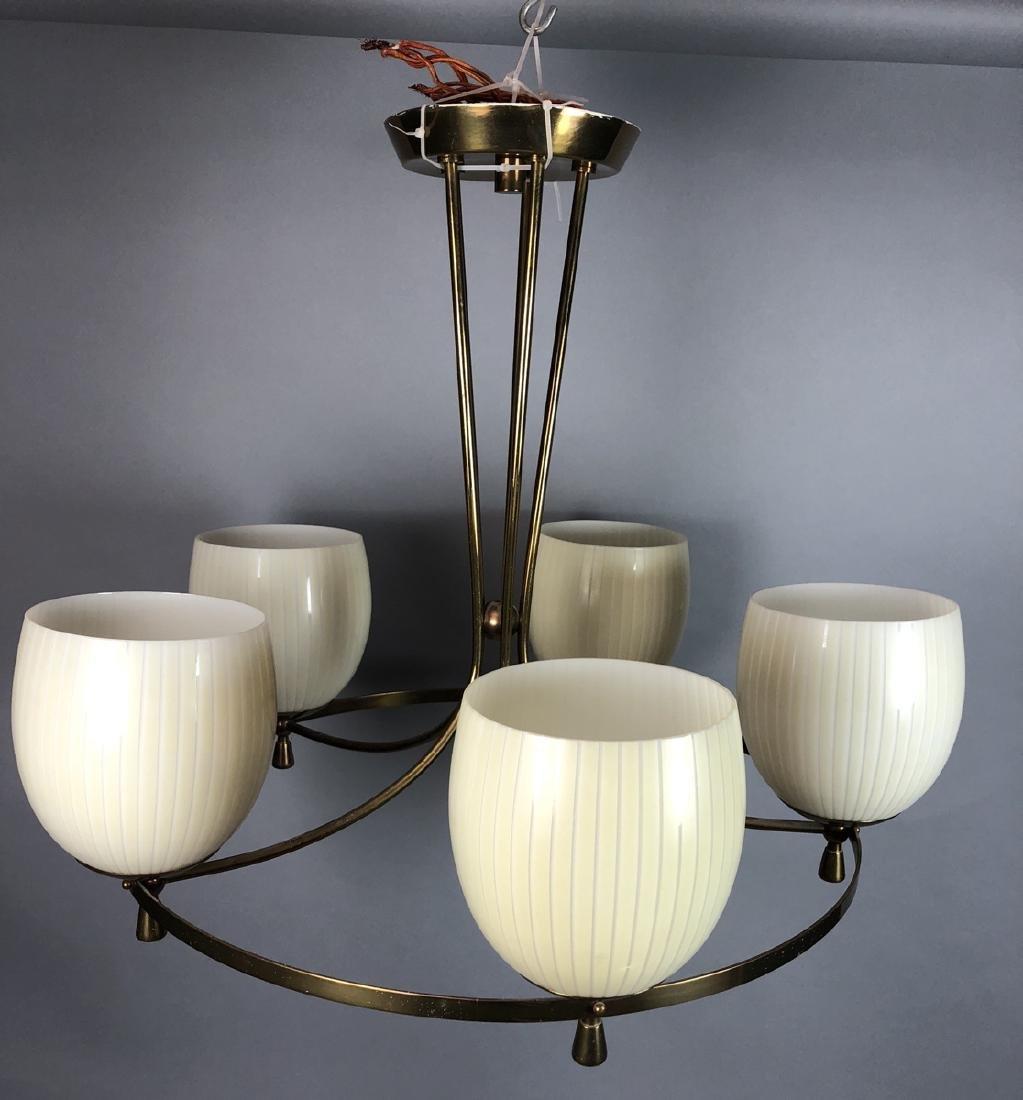 5 Arm Brass Glass Tulip Shades Modern Chandelier.