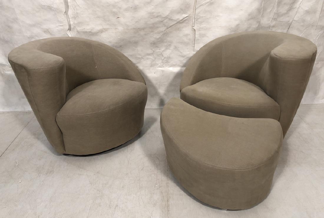 Pr Swivel Modern Lounge Chairs & Ottoman. Vladimi