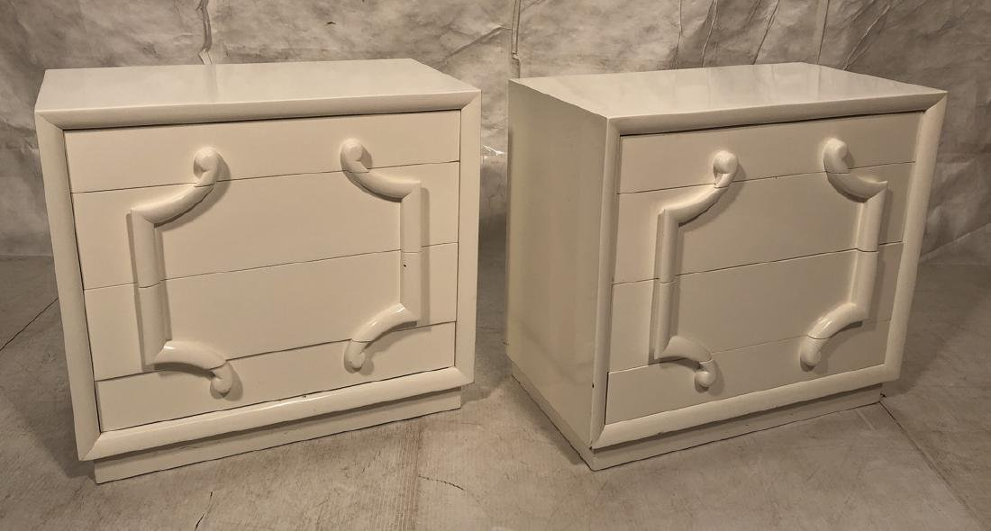 Pr Widdicomb style White Painted Bachelors Chest.