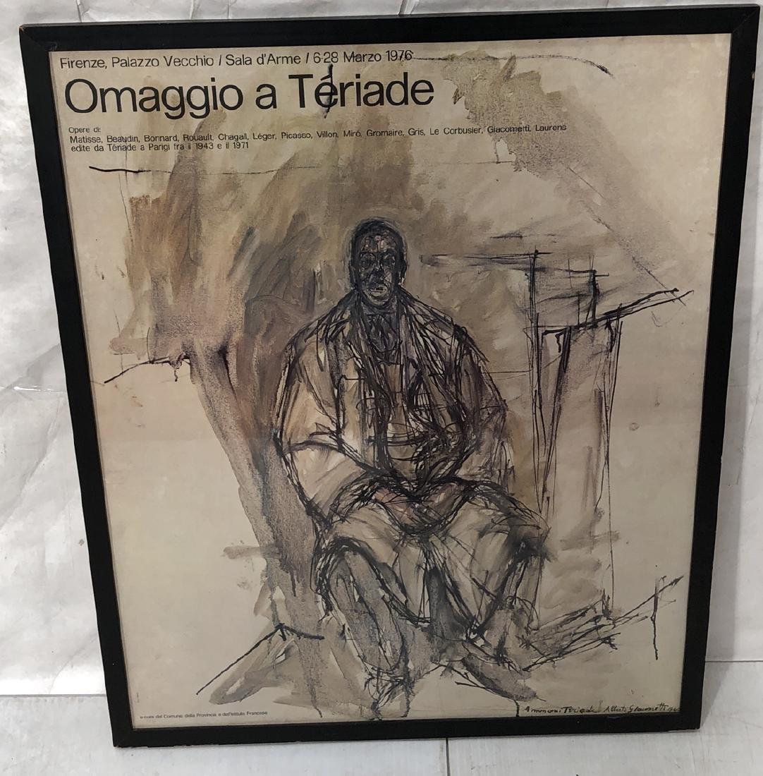 "ALBERTO GIACOMETTI Florence Italy Poster  1971. """