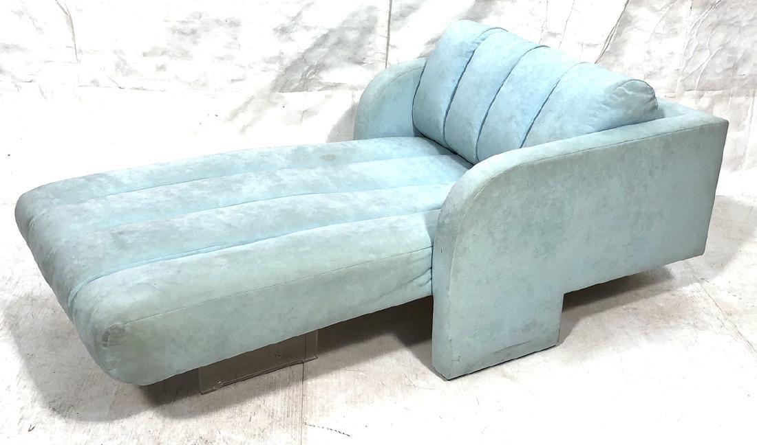 VLADIMIR KAGAN  Lucite Upholstered Chaise Lounge.