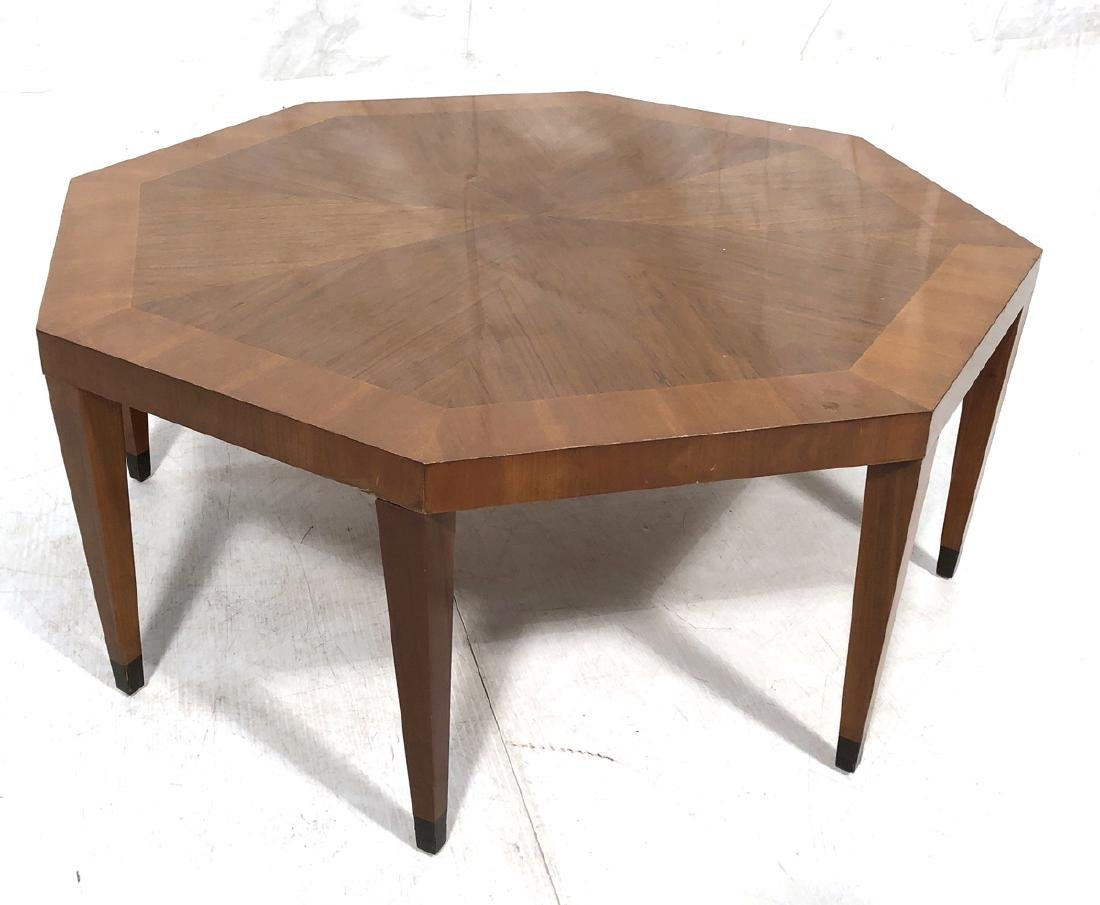 BAKER Octagonal Banded Cocktail Table. 8 tapered